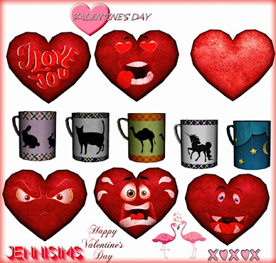 Jenni Sims: Decorative Clutter Valentine Day Heart Pillows and Cups