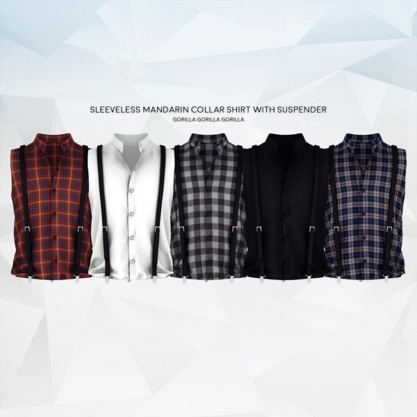 Gorilla: Sleeveless Mandarin Collar Shirt with Suspender