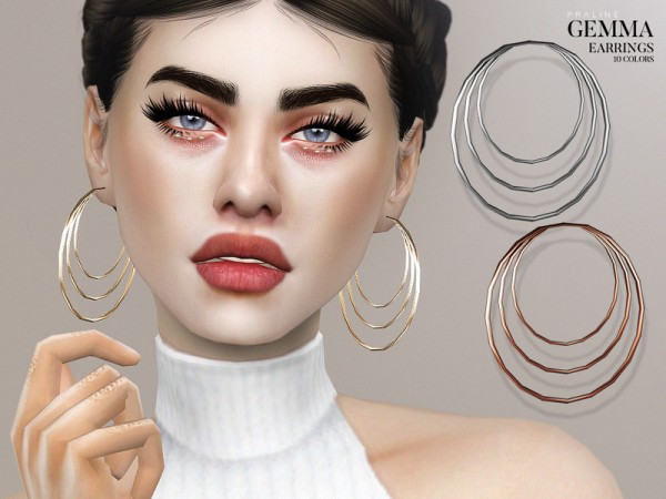 The Sims Resource: Gemma Earrings by Pralinesims