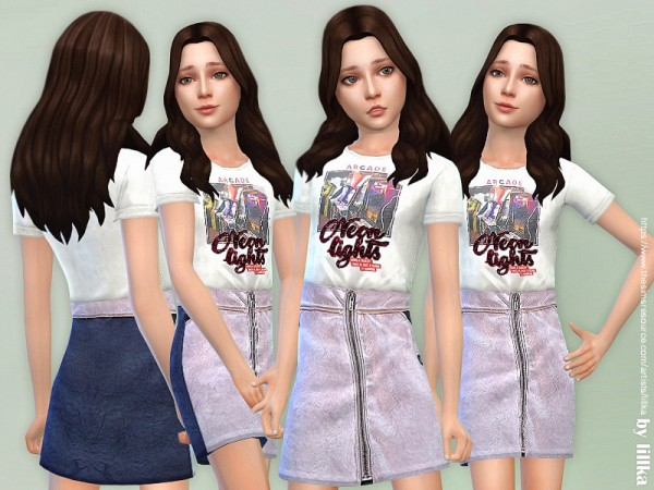 The Sims Resource: T Shirt with Metallized Skirt by lillka
