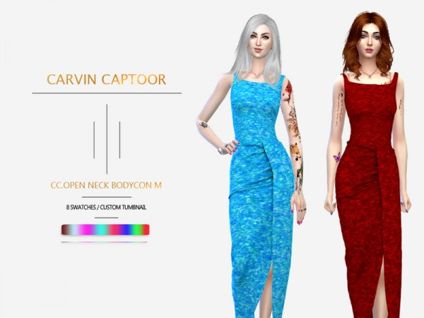 The Sims Resource: Open Neck Bodycon M by carvin captoor