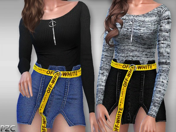 The Sims Resource: Everyday Sweater With Circle Pull Zipper by Pinkzombiecupcakes