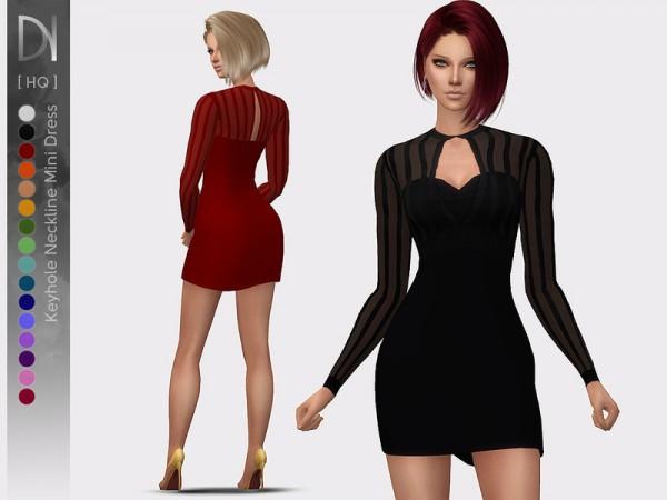 The Sims Resource: Keyhole Neckline Mini Dress by DarkNighTt