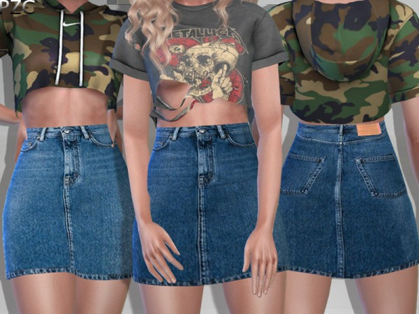 The Sims Resource: Denim Jeans Skirt by Pinkzombiecupcakes