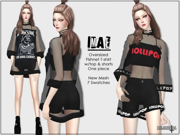 The Sims Resource: IMAE   Oversized T Shirt   One piece by Helsoseira