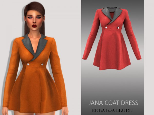 The Sims Resource: Jana coat dress by belal1997