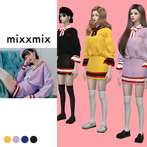 SUN02: Heart Ribbon Knit, Skirt and Beret