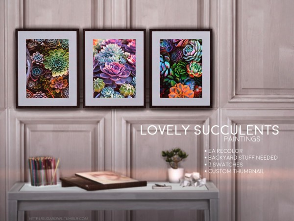 The Sims Resource: Lovely Succulents paintings by sugar owl