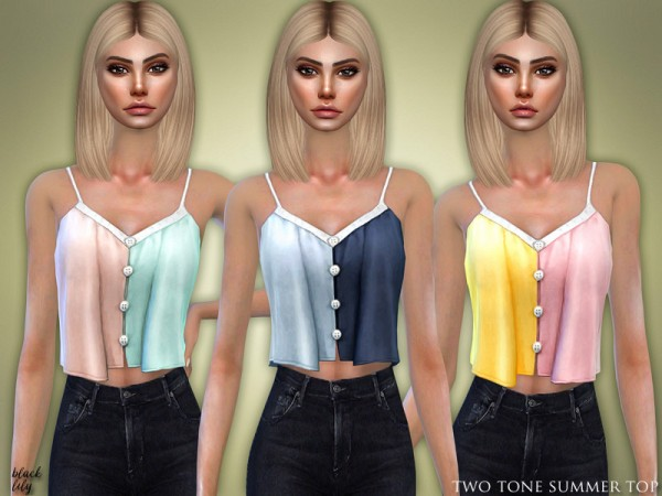 The Sims Resource: Two Tone Summer Top by Black Lily