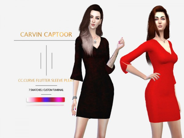 The Sims Resource: Curve flutter sleeve pleat dress by carvin captoor
