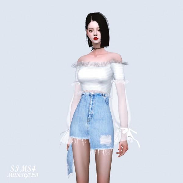 SIMS4 Marigold: Sha Frill Long Sleeves Off Shoulder