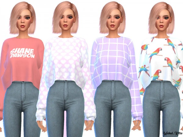 The Sims Resource: Snazzy Cropped Sweaters by Wicked Kittie