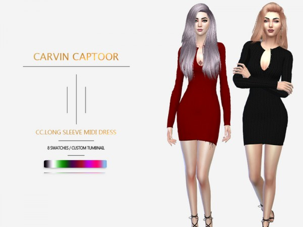 The Sims Resource: Long sleeve midi dress by carvin captoor
