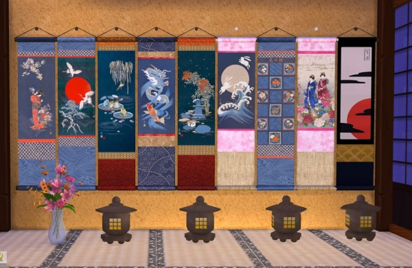 Mod The Sims: Japanese Noren Panels   8 Wall Hanging Scrolls   Set 1 by porkypine