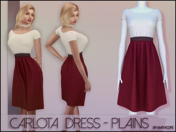 Sims Studio: Carlota Dress Plain by mathcope
