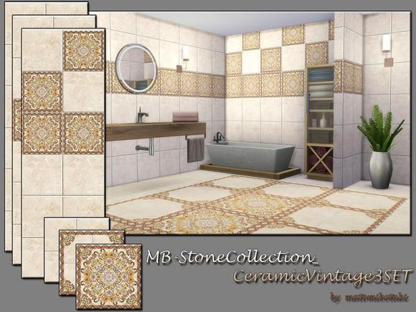 The Sims Resource: Stone Collection Ceramic Vintage 3 Set by matomibotaki