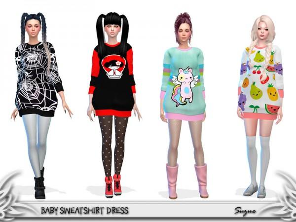 The Sims Resource: Baby Sweatshirt Dress by Suzue