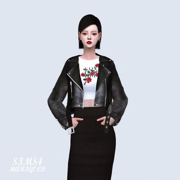 SIMS4 Marigold: Biker Jacket With Crop Top V2
