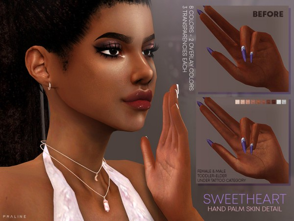 The Sims Resource: Sweetheart Hand Palms Skin Detail by Pralinesims