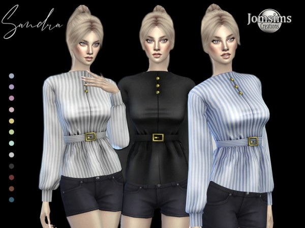 The Sims Resource: Sandra blouse with belt by jomsims
