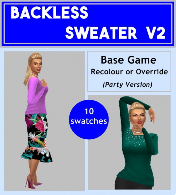 Sims 4 Sue: Backless Sweater V1