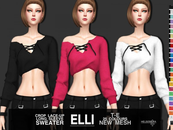 The Sims Resource: ELLI   Lace up Crop Top by Helsoseira