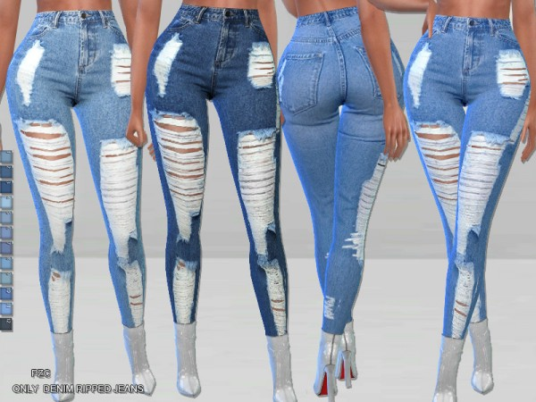 The Sims Resource: Only Denim Ripped Jeans by Pinkzombiecupcakes