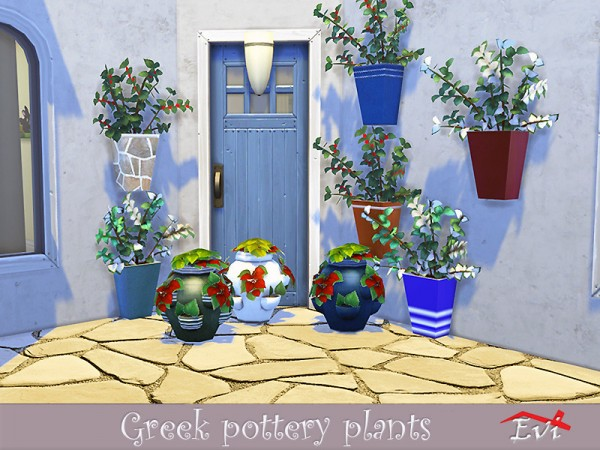 The Sims Resource: Greek pottery and plants by evi