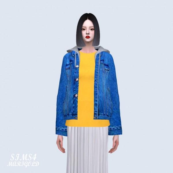 SIMS4 Marigold: Hood Over Fit Denim Jacket