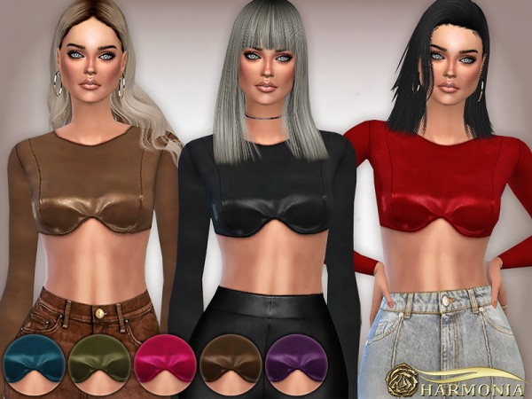 The Sims Resource: Vegan Leather Shaped Bust Top by Harmonia
