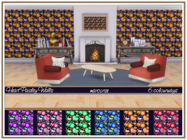 The Sims Resource: Heart Paisley Walls by marcorse