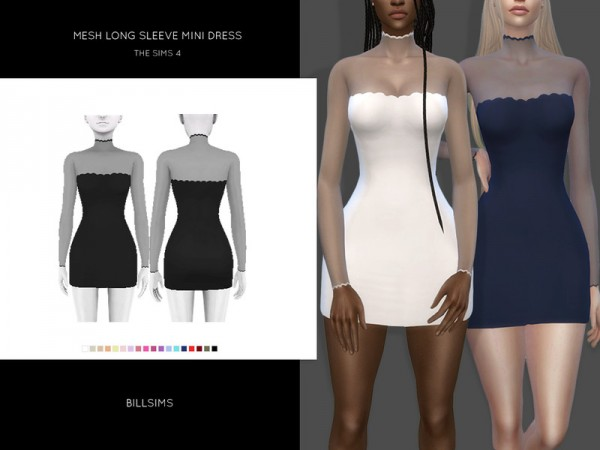The Sims Resource: Mesh Long Sleeve Mini Dress by Bill Sims