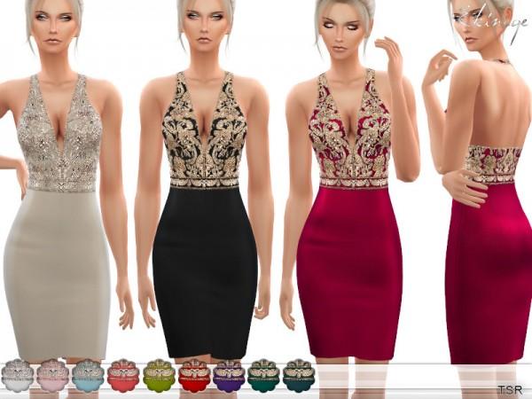 The Sims Resource: V Neck Embellished Mini Dress by ekinege