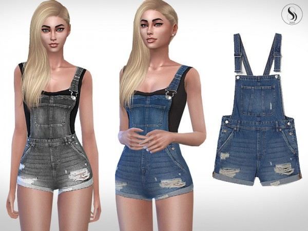 The Sims Resource: Super Short Denim Romper by Saliwa