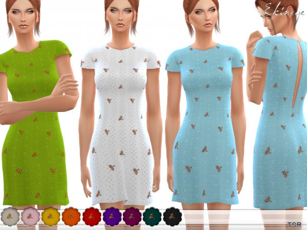 The Sims Resource: Floral Embroidered Eyelet Dress by ekinege