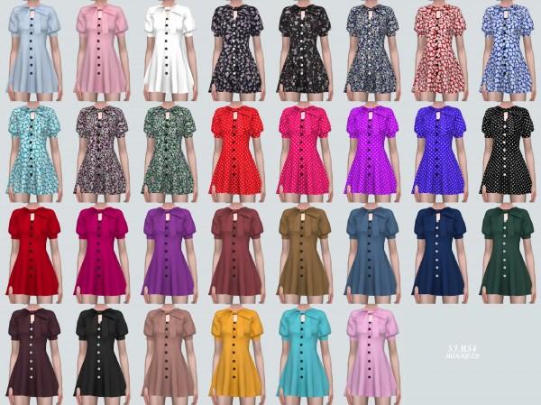 SIMS4 Marigold: Puff Sleeves Ribbon Dress