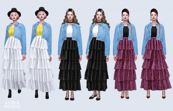 SIMS4 Marigold: Tiered Skirt With Jacket