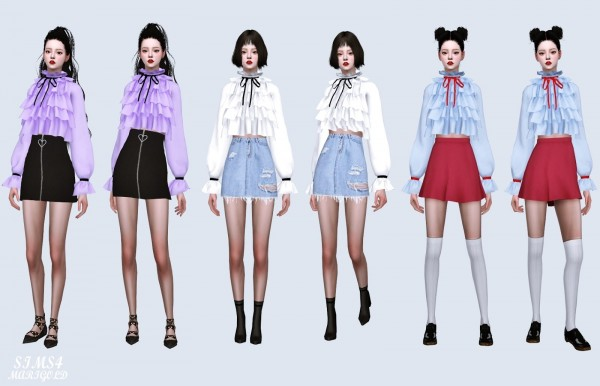 SIMS4 Marigold: Ribbon Frill Tiered Blouse