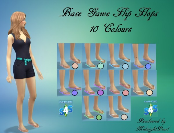Mod The Sims: Flipflops 10 Colours by wendy35pearly