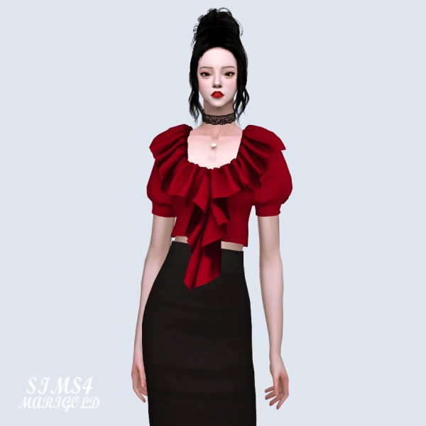 SIMS4 Marigold: Frill Neck Puff Sleeves Blouse