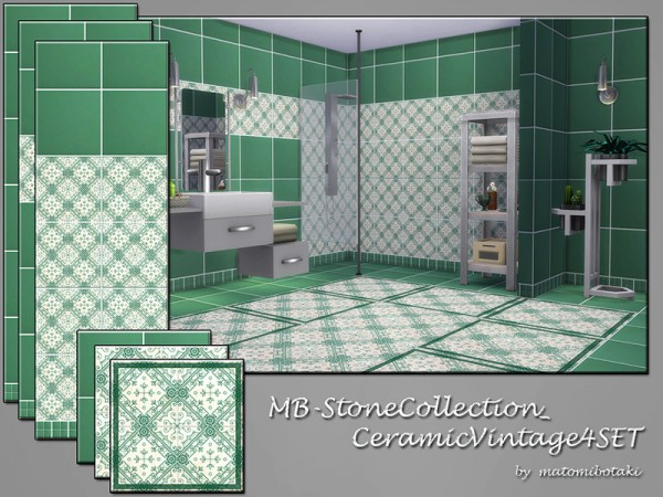 The Sims Resource: Stone Collection Ceramic Vintage 4 set by matomibotaki