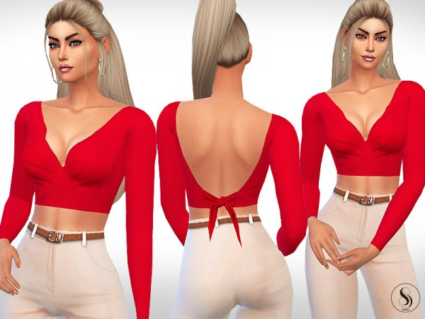 The Sims Resource: Tie Back Long Sleeve Tops by Saliwa