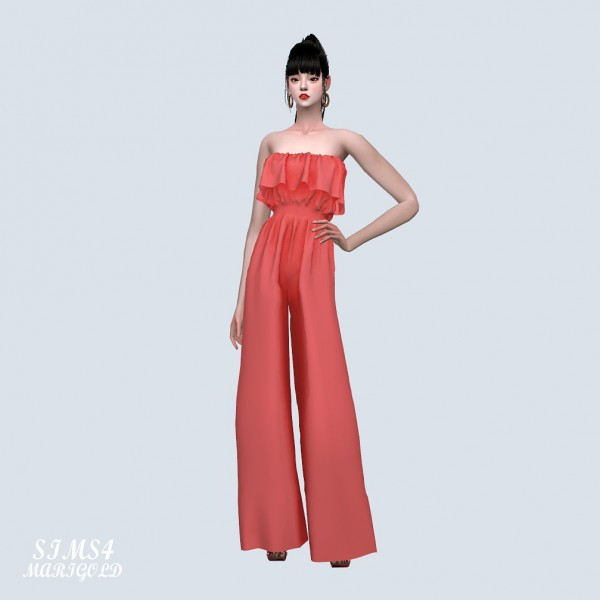 SIMS4 Marigold: Frill Tube Top Jumpsuit