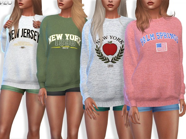 The Sims Resource: Sporty and Everyday Sweatshirts by Pinkzombiecupcakes