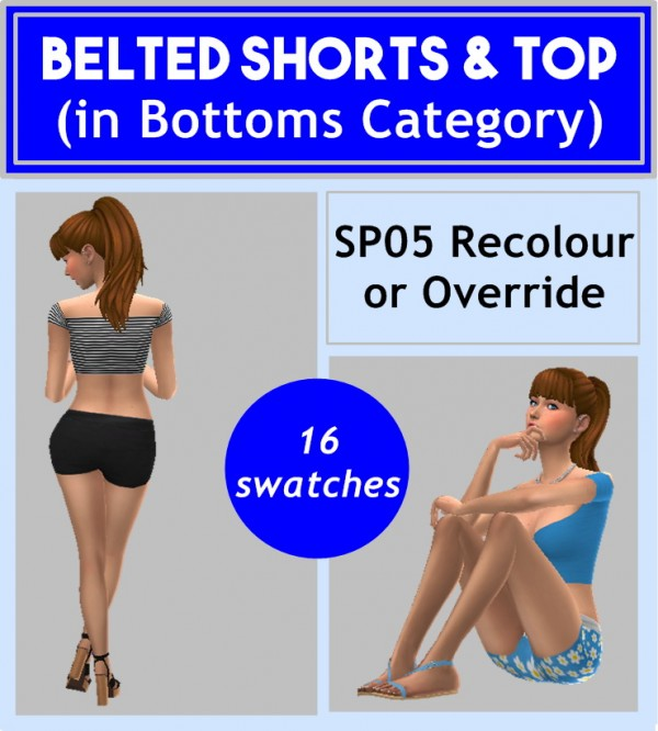 Sims 4 Sue: Belted Shorts and Top