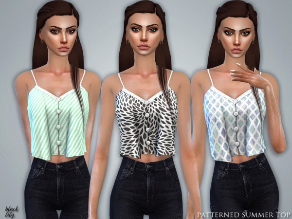 The Sims Resource: Patterned Summer Top by Black Lily