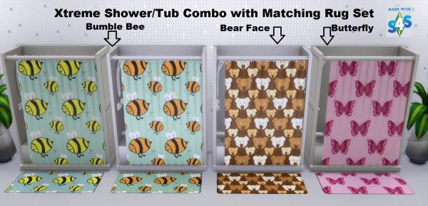 Mod The Sims: Xtreme Shower   Tub Combo with Matching Rug Set by wendy35pearly