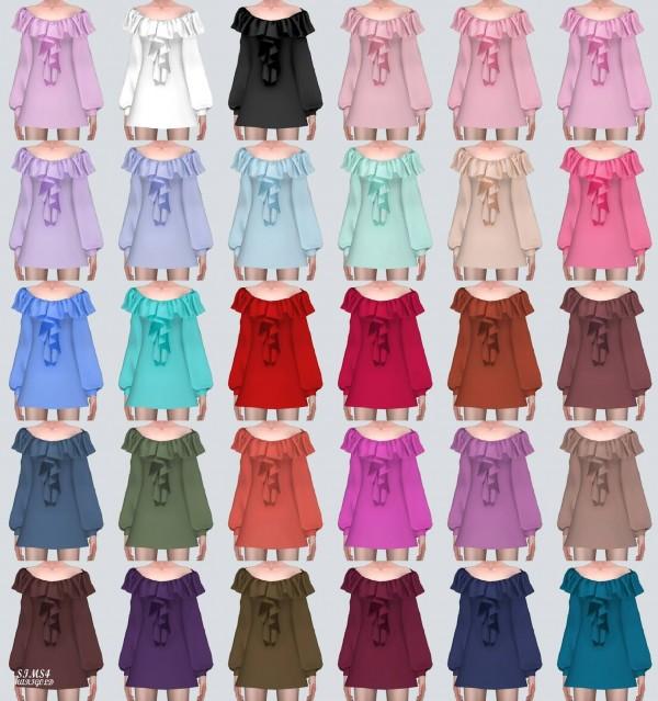 SIMS4 Marigold: Spring Off Shoulder Frill Mini Dress