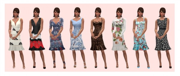 Sims 4 Sue: Flared Hem dress recolored