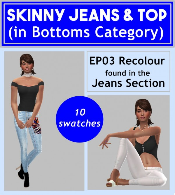 Sims 4 Sue: Skinny Jeans and Top